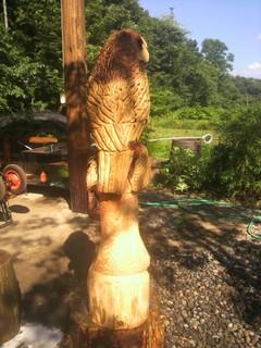 彫刻フクロウの表札チェーンソーアート