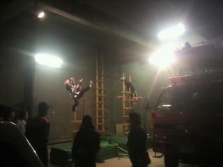 消防団梯子乗り隊の訓練