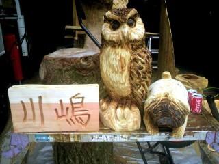 ハンドメイド表札とフクロウとパグ犬の木彫り