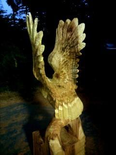 ふくろう彫刻チェーンソーアート手作りハンドメイド一点もの看板
