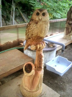 フクロウの一刀彫チェーンソーアート彫刻