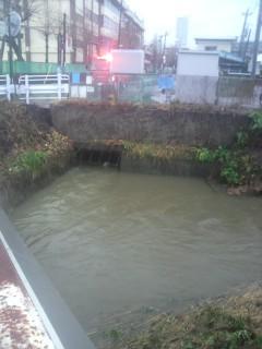 暴れ川の梅田川も増水